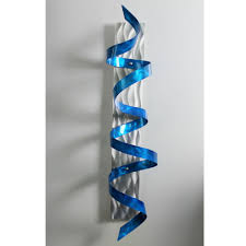 blue and grey metal wall art