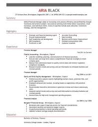 Short Cv Templates Accounting And Finance Manager Cv Template Cv Samples Examples