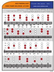 Baritone Finger Chart Treble Clef 3 Valve Basic Fingering Chart For Cornet Trumpet Mellophone Alto