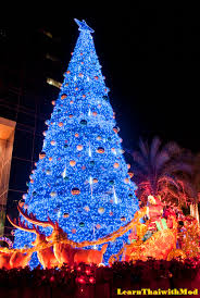 For Thai people, Christmas and New Year is one long event that has been  merged into one celebration, so these trees will stay up until the end of  January.