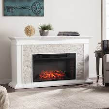 boston loft furnishings w fresh white rustic white faux stone mdf led electric fireplace with thermostat and remote control