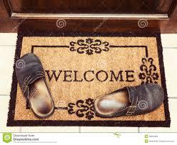 Welcome mat at front door stock vector. Image of landing - 50606000
