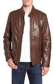 andrew marc men s brown emerson lightweight leather moto jacket