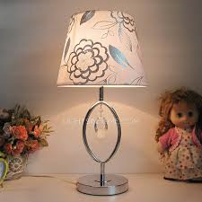 modern bedside table lamps fl printed fabric shade with crystal