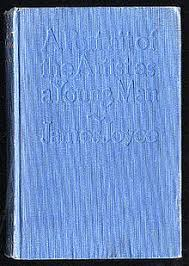 a portrait of the artist as a young man  a book cover it is entirely blue and has a portrait of the