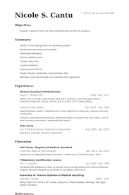 Medical Assistant/Phlebotomist Resume samples