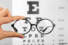 Glasses In Hands On Eye Chart Background Close Up Buy