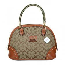 Coach Madison Stud In Monogram Medium Brown Satchels BRO