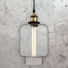 antique brass clear glass pendant light