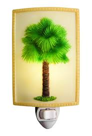 Palm Tree Night Light Elegant Fan Palm Tree Night Light Coastal Beauty Bonded Marble