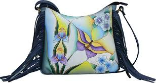 anna by chka hand painted leather fringed cross bag 8377 women s