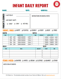 Himama Daycare Daily Sheets Reports Forms And Templates Resources