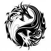 Vektorová Grafika Yin Yang Tetování S Draky 105424968 Fotobanka