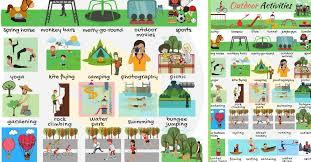 outdoor activities. Outdoor Activities Vocabulary In English