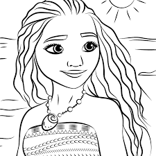 Print Moana Coloring Pages With Princess Moana Portrait Coloring