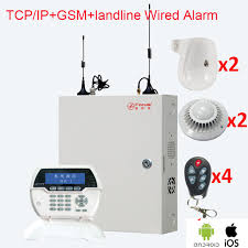 wired alarm box with 2 wireless motion sensor 2 smoke detector diy focus fc