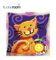 bz092 catth hook rug kit pillow diy unfinished crocheting yarn mat latch hook rug kit floor