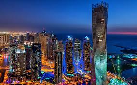 Dubai City Evening Lights Buildings Skyscrapers