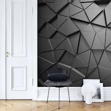 3D Black Grey Geometric Wallpaper ...