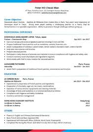 Cv Template Pastry Chef Asiahospitalitycareerscom Hospitality