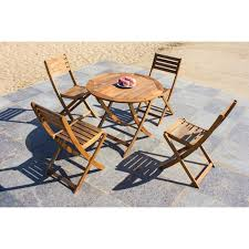 solid wood outdoor set patio garden furniture round fold able table 90 cm with 4 folding chair