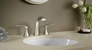 bathroom faucet in brushed nickel