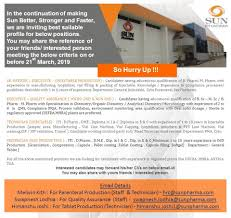 quality assurance technicians sun pharmaceutical limited urgent multiple openings in