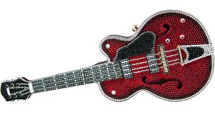 Judith Leiber Acoustic/<b>Electric Guitar Crystal</b> Clutch Bag in Red - Lyst