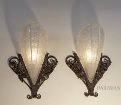 donna a pair of french art deco wall sconces in wrought iron holding slip shades art deco lightingdeco
