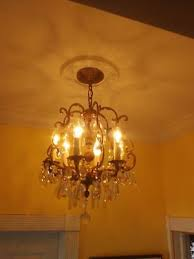 vintage spanish brass crystal chandelier 6 light