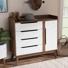 baxton studio brighton midcentury modern white and walnut wood