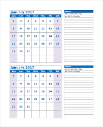 9+ Free Sample Printable Monthly Calendars | Sample Templates