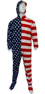 plus size footed pajamas fun footies american flag unisex adult feety pajamas bewild