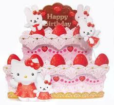 Hello Kitty Birthday Cake Pop Up Greeting Card Birthday Premium