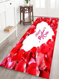 red petals print non slip water absorption bathroom floor rug red w24 inch