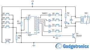 simple code locker circuit diagram using decade counter cd4017 ic Wiring Diagram For Counter simple code locker circuit diagram using decade counter cd4017 ic password based electronic locker schematic wiring diagram for intermatic sprinkler timer