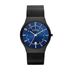 skagen mens watch t233xltmn black titanium bracelet and blue skagen mens watch t233xltmn black titanium bracelet and blue dial