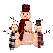 Northlight Set of 3 Lighted Tinsel Snowman Family Christmas Outdoor Decorations 35\ Snowman: Amazon.com