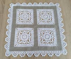 gray linen and white lace square table