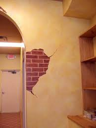 brick breakaway and faux finish on walls in italian restaurant
