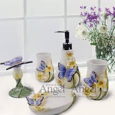 Best Bath Decor bathroom kit : blue butterfly ceramic toothbrush holder soap dish bathroom ...