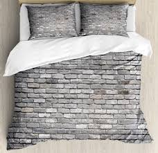 grey duvet cover set image of an aged old and rough brick wall obsolete concrete structure with ragged surface decorative bedding set with pillow shams