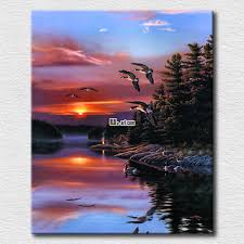 red sunset and beautiful bird oil painting reion high quality canvas prints hang on the living room in painting calligraphy from home garden on