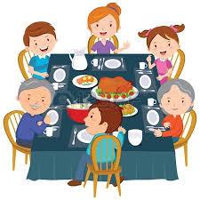 thanksgiving dinner table clipart. family dinner table: dinner. happy extended having thanksgiving illustration table clipart