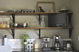awesome kitchen wall shelves diy with mug hooks and black countertop