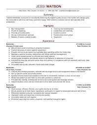 Bartending Resume Templates Bartender Resume Job Description