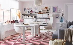 Ikea office storage ideas Pvc Pipes This White Home Office Is Decorated With Stockholm Flatwoven White And Red Colour Blocked Rug And Ikea Home Office Furniture Ideas Ikea