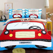 Cartoon red car comforter duvet quilt cover double queen single ... & Cartoon red car comforter duvet quilt cover double queen single king twin  kids bedding set bed Adamdwight.com