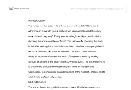 a critique of qualitative study regarding diabetes treatment  document image preview