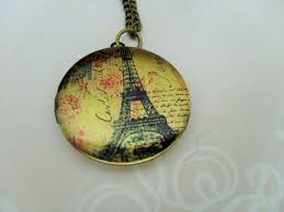 paris eiffel tower design locket pendant necklace picture locket gift for her vintage image gift boxed antique brass b jeweled vintage
